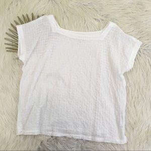 Eileen Fisher Organic Cotton Grid Textured Blouse